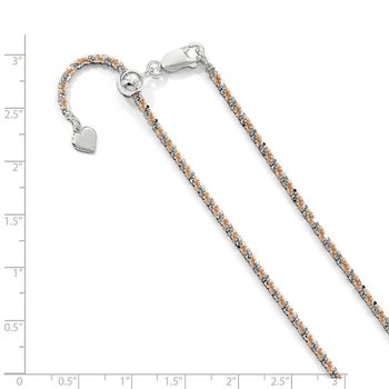 Leslie's Sterling Silver w/Rose-tone Adjustable 2mm Cyclone Chain