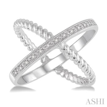 'x' shape silver diamond ring