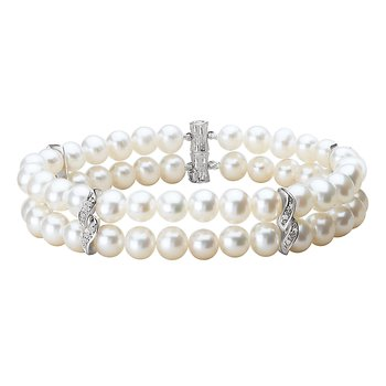Freshwater Pearl and Diamond Bracelet