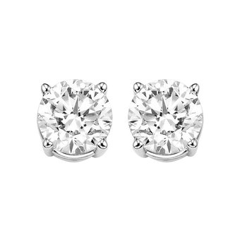 Diamond Stud Earrings in 14K White Gold (1 ct. tw.) I2/I3 - H/K