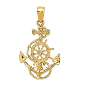 14K Anchor and Wheel Pendant