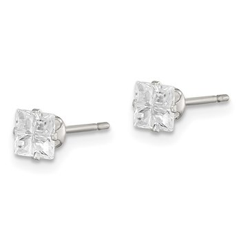 Sterling Silver 4mm Square Snap Set Cross-cut CZ Stud Earrings