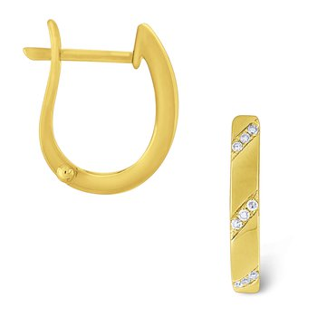 Diamond Mini Hoop Earrings Set in 14 Kt. Gold