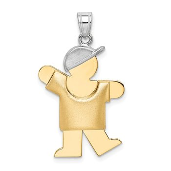 14k Two-Tone Puffed Boy with Hat on Left Engravable Charm
