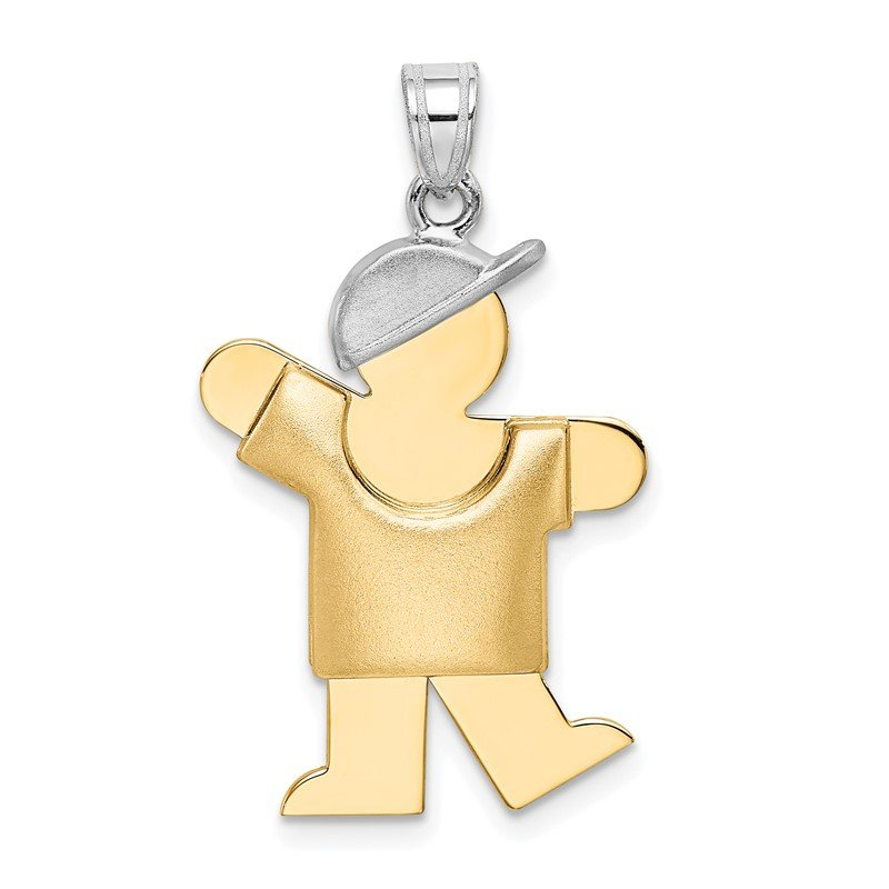 Quality Gold 14k Two-Tone Puffed Boy with Hat on Left Engravable Charm