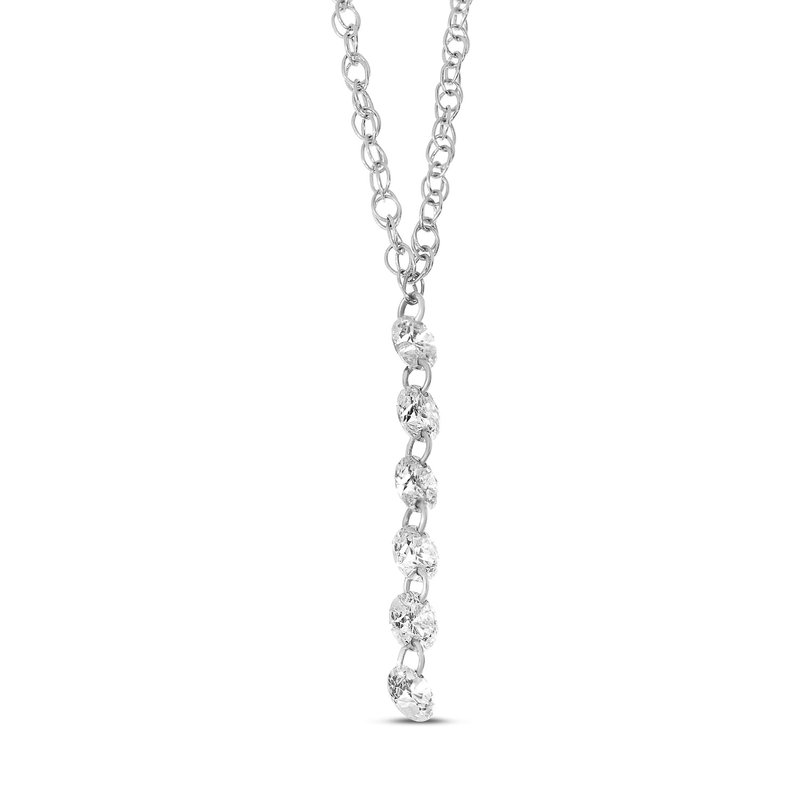"Color Merchants 14K White Gold Dangle Necklace with 18"" Chain"