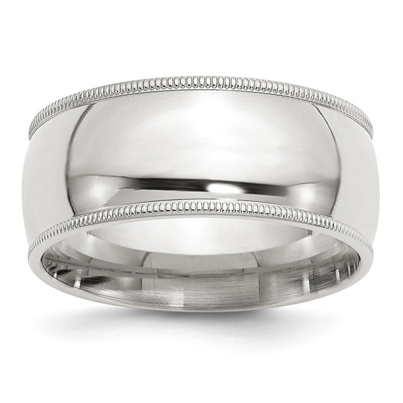 J.F. Kruse Signature Collection Sterling Silver 9mm Milgrain Comfort Fit Band