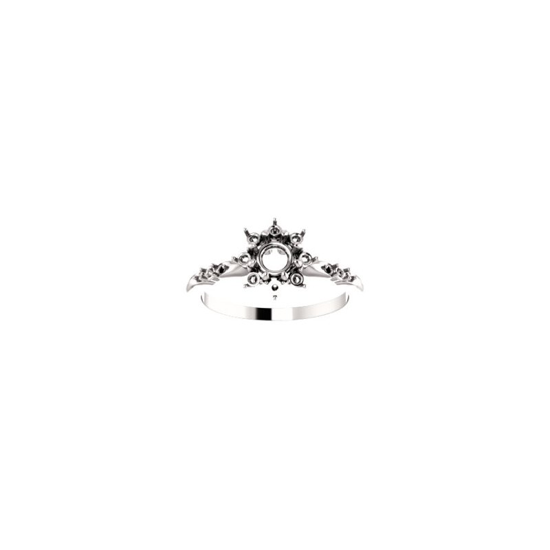 Stuller 18K White 4.8 mm Round Halo-Style Engagement Ring Mounting