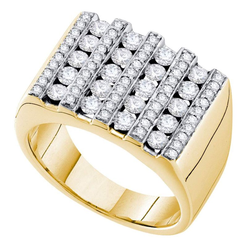 Gold-N-Diamonds 14kt Yellow Gold Mens Round Channel-set Diamond Square Stripe Cluster Ring 1-1/2 Cttw