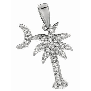 Silver CZ Palm Tree with Crescent Moon Pendant