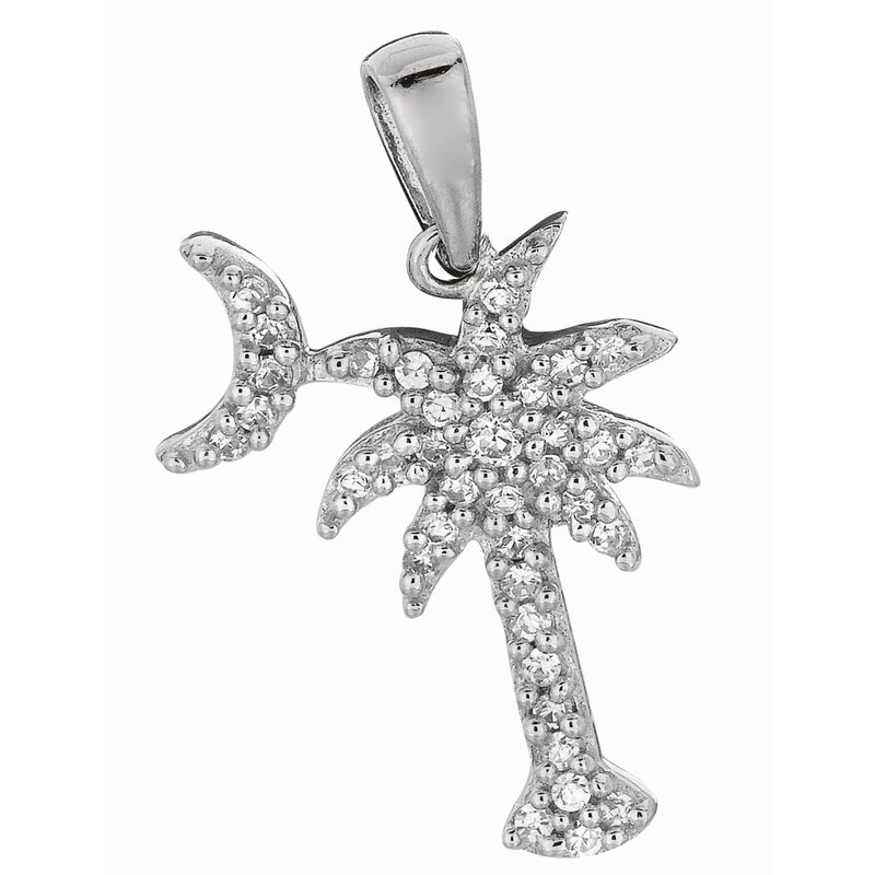 Royal Chain Silver CZ Palm Tree with Crescent Moon Pendant
