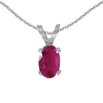 14k White Gold Oval Ruby Pendant