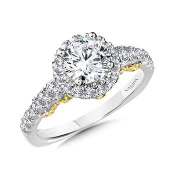 Diamond Engagement Ring Mounting in 14K White and Yellow Gold (0.76 ct. tw.)