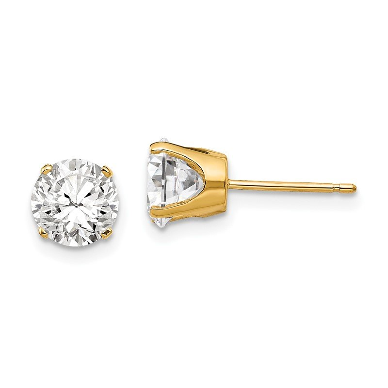 Quality Gold 14k 6.5mm CZ stud earrings