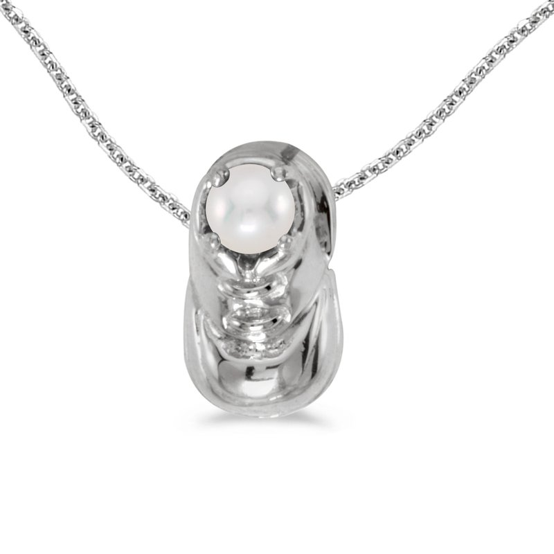Color Merchants 14k White Gold Freshwater Cultured Pearl Baby Bootie Pendant