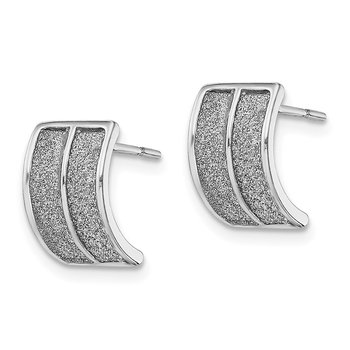 Sterling Silver RH-plated Enamel Glitter Fabric Half Hoop Post Earring