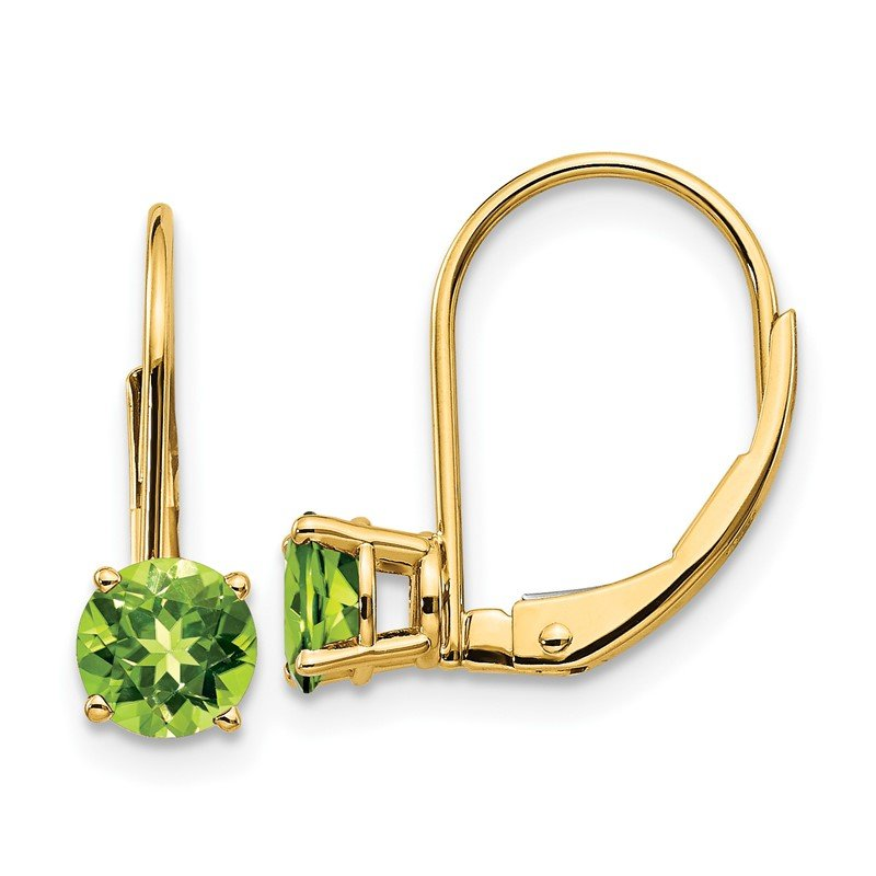 Quality Gold 14k 5mm Peridot Leverback Earrings