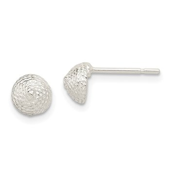 Sterling Silver Solid Polished Etched Button Earrings