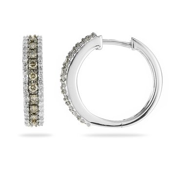14K WG Champagne Diamond Hoops Earring