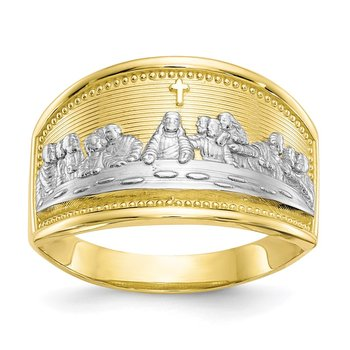 10k & Rhodium Ladies Last Supper Ring
