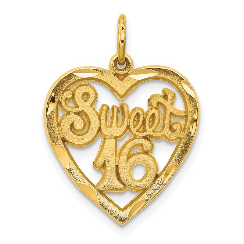 Quality Gold 14k SWEET 16 in A Heart Charm