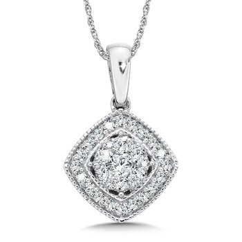 Pave set Diamond Cushion Shaped Halo Pendant, 14k White Gold  (1/2 ct. tw.) JK/I1