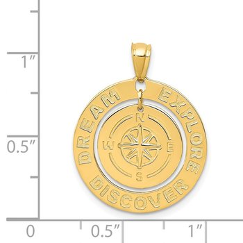 14k Polished Dream Explore Discover w/Compass Pendant