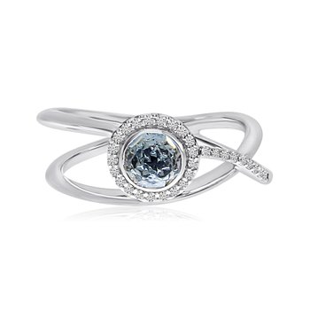14k White Gold Blue Topaz and Diamond Halo Ring