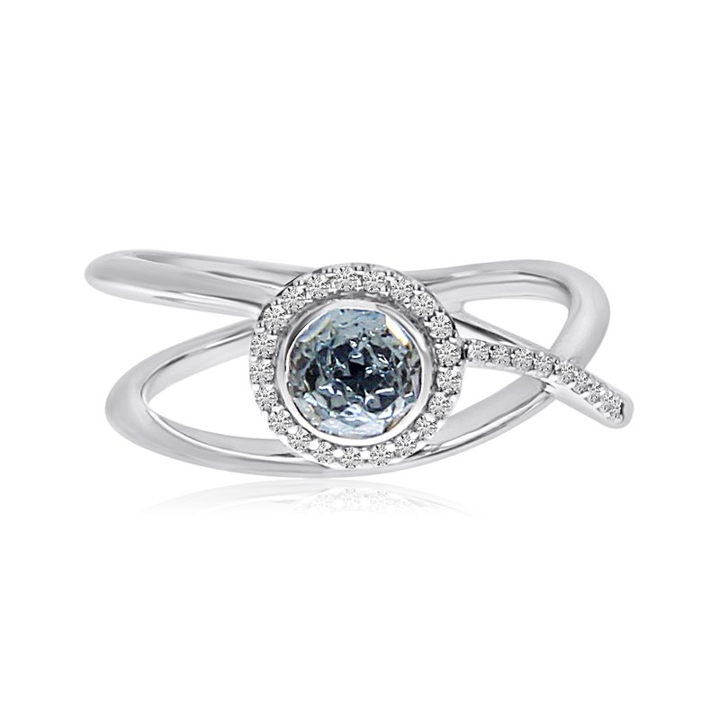 Color Merchants 14k White Gold Blue Topaz and Diamond Halo Ring