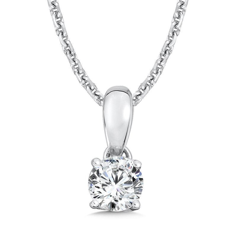Caro74 Diamond Solitaire Pendant in 14K White Gold (1/4 ct. tw.)