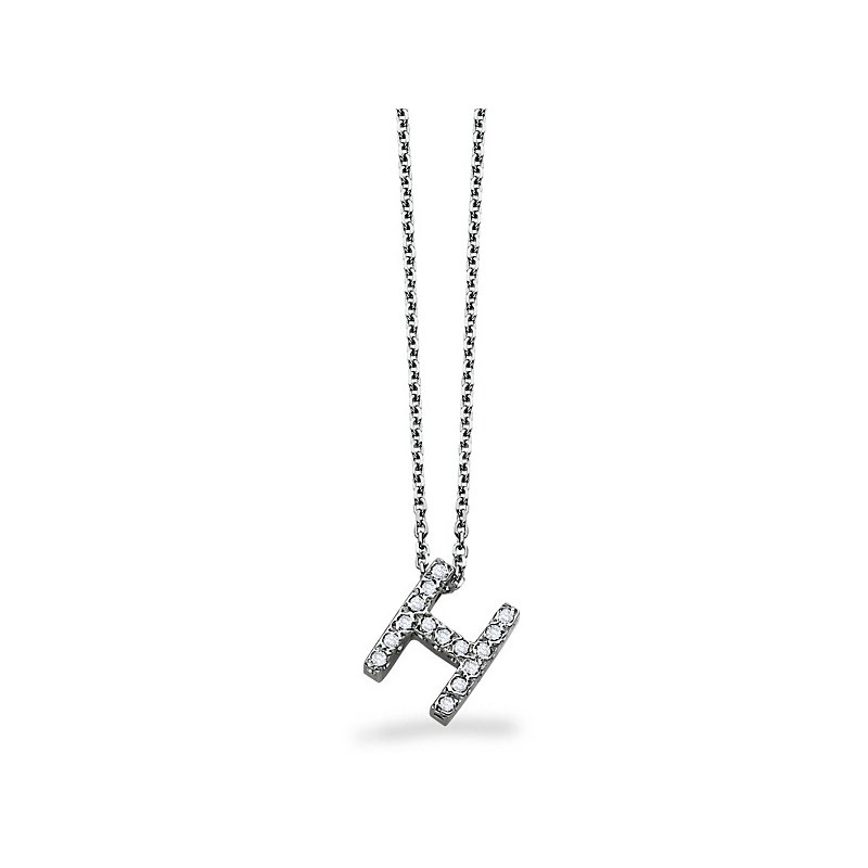 "KC Designs Diamond Block Initial ""H"" Necklace in 14k White Gold with 15 Diamonds weighing .12ct tw."