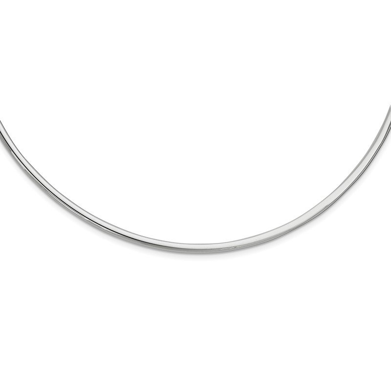 J.F. Kruse Signature Collection Sterling Silver Rhodium-plate 16inch 2in ext. Polished Neck Collar Necklace