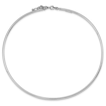 Sterling Silver Rhodium-plate 16inch 2in ext. Polished Neck Collar Necklace