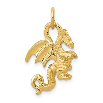 14k Solid Polished 3-D Dragon Charm