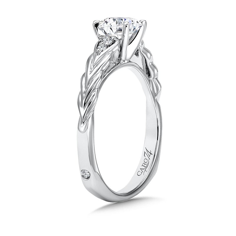 Caro74 Inspired Vintage Collection Engagement Ring With Side Stones in 14K White Gold with Platinum Head (3/4ct. tw.)