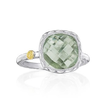 Cushion Gem Ring with Prasiolite