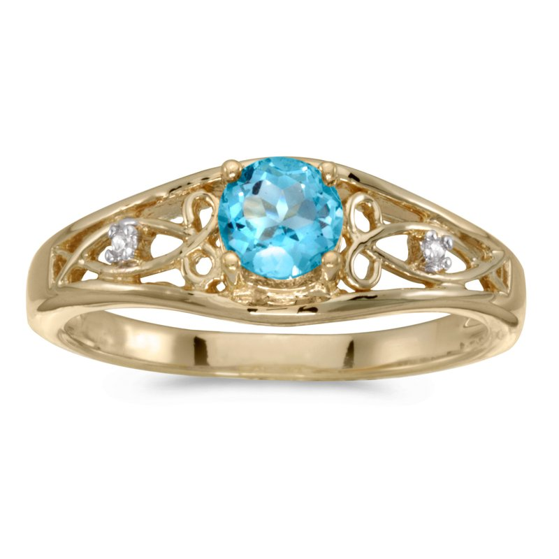 Color Merchants 14k Yellow Gold Round Blue Topaz And Diamond Ring