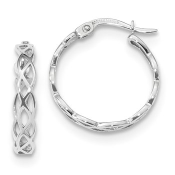 14k White Gold Polished Intertwined Filigree Hoop Earrings