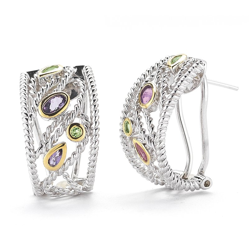 Shula NY Sterling Silver and 14K Yellow Gold Earrings with Semi-Precious Stones