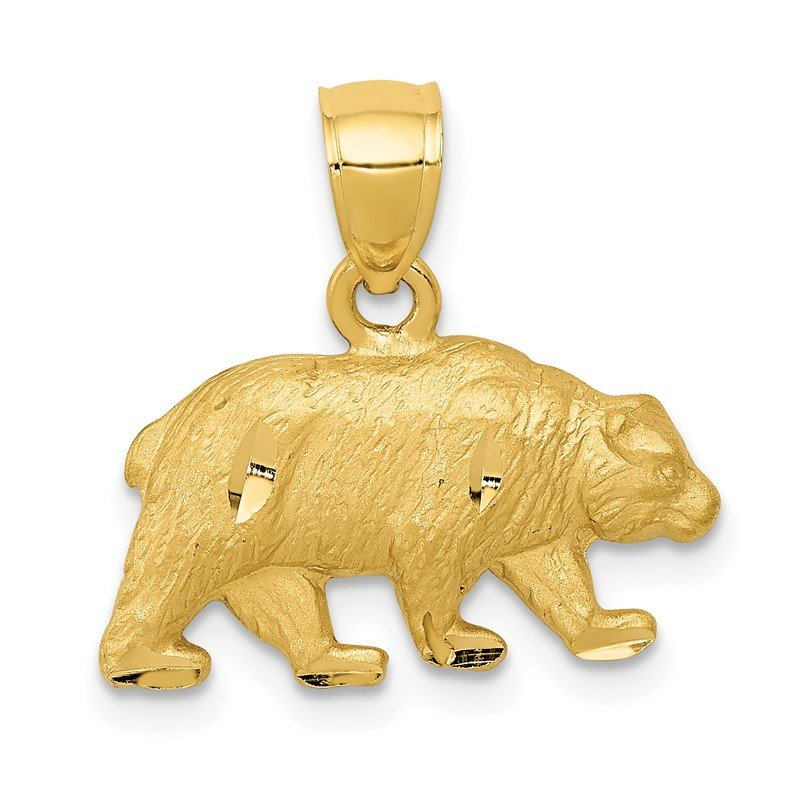 Quality Gold 14K Diamond-cut Bear Pendant