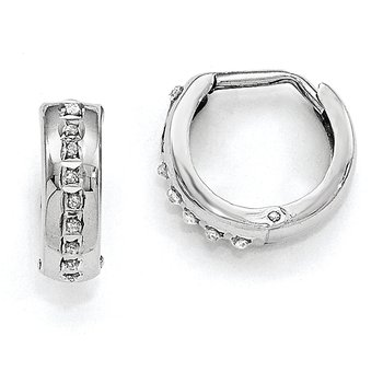 14k White Gold Diamond Fascination Round Huggy Hoop Earrings