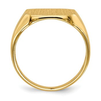 14k 13.0x14.0mm Closed Back Men's Signet Ring