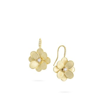 Marco Bicego® Petali Collection 18K Yellow Gold and Diamond French Hook Flower Earrings