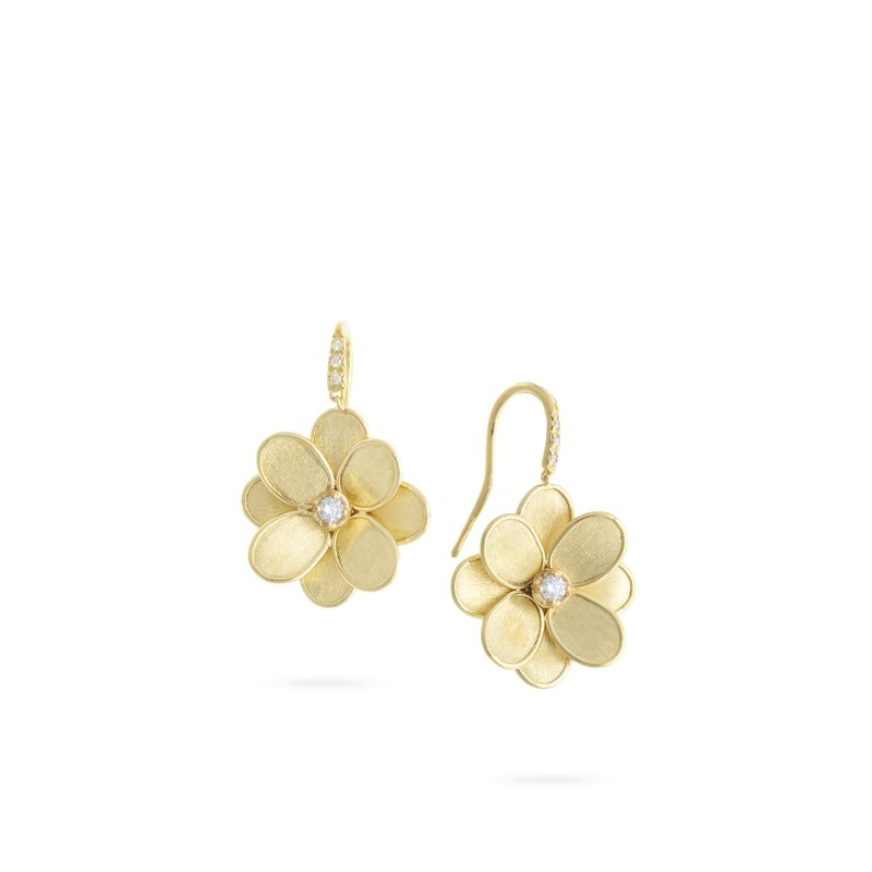Marco Bicego Marco Bicego® Petali Collection 18K Yellow Gold and Diamond French Hook Flower Earrings