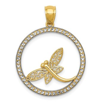 14k and Rhodium D/C Dragonfly Circle Pendant
