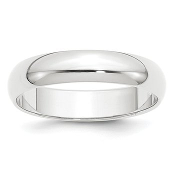Platinum 5mm Half-Round Wedding Band