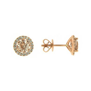 14k Rose Gold Earrings with Morganite & Diamond