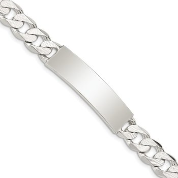 Sterling Silver Polished Engraveable Patterned Curb Link ID Bracelet