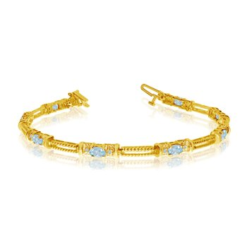 10k Yellow Gold Natural Aquamarine And Diamond Tennis Bracelet