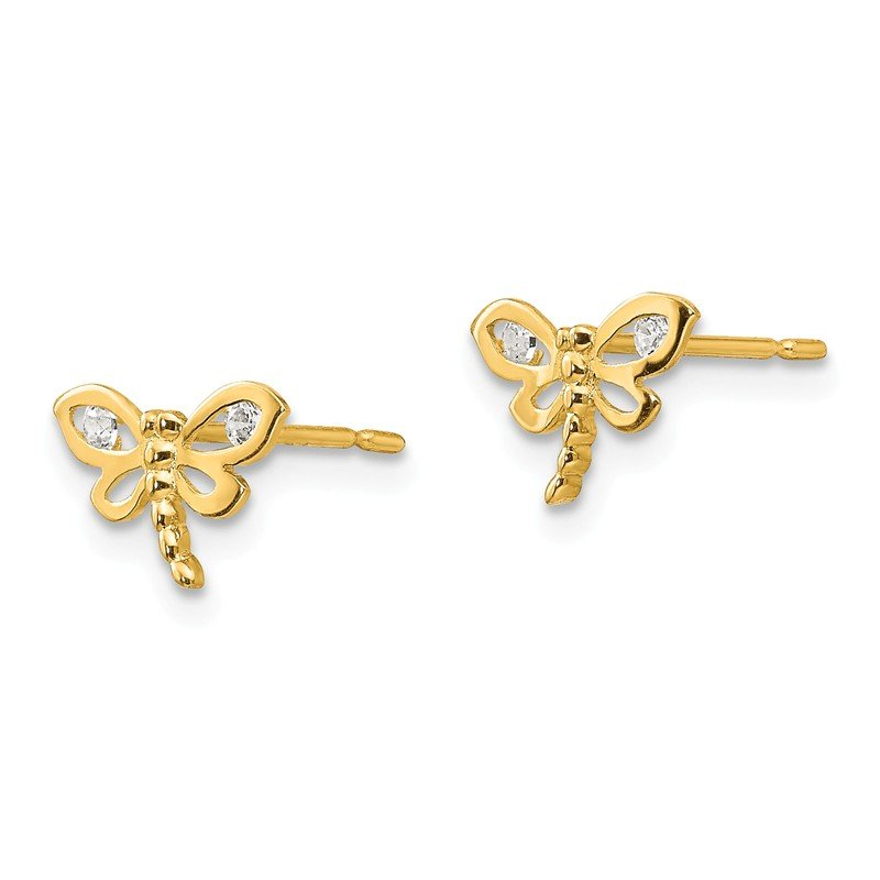 JC Sipe Essentials 14k Madi K CZ Children's Dragonfly Post Earrings